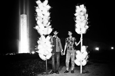 Young brothers selling cotton candy
