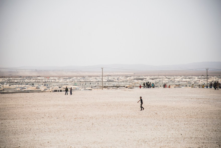 The vast open space of Zaatari refugee camp, on the edge of the desert, is home to more than 100,000 Syrians.