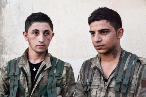 Syriac army, on the frontline, south of Tirbespiyeh, Syria, June 2014