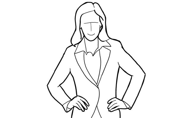 (16) 把雙手放在腰位也是常用的擺姿,適用於半身和全身使用。