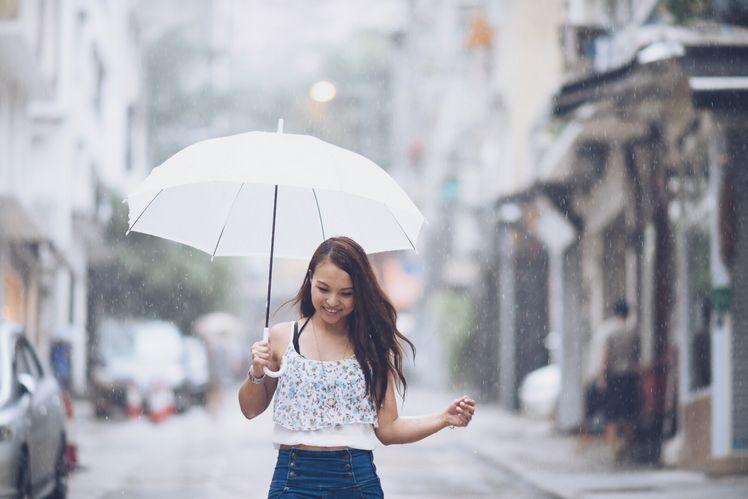 用高速快門去定格雨點以製造出一個富有特色的背景去拍攝雨中慢步亦是只有下雨天才可以拍得到的畫面