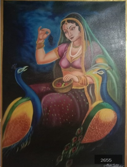 Indian Woman with Mayura Painting