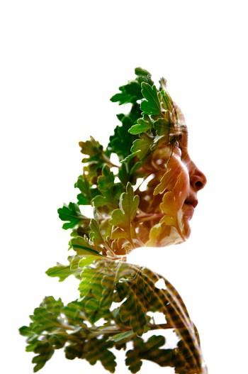 Doppelbelichtung Porträt und Pflanze
