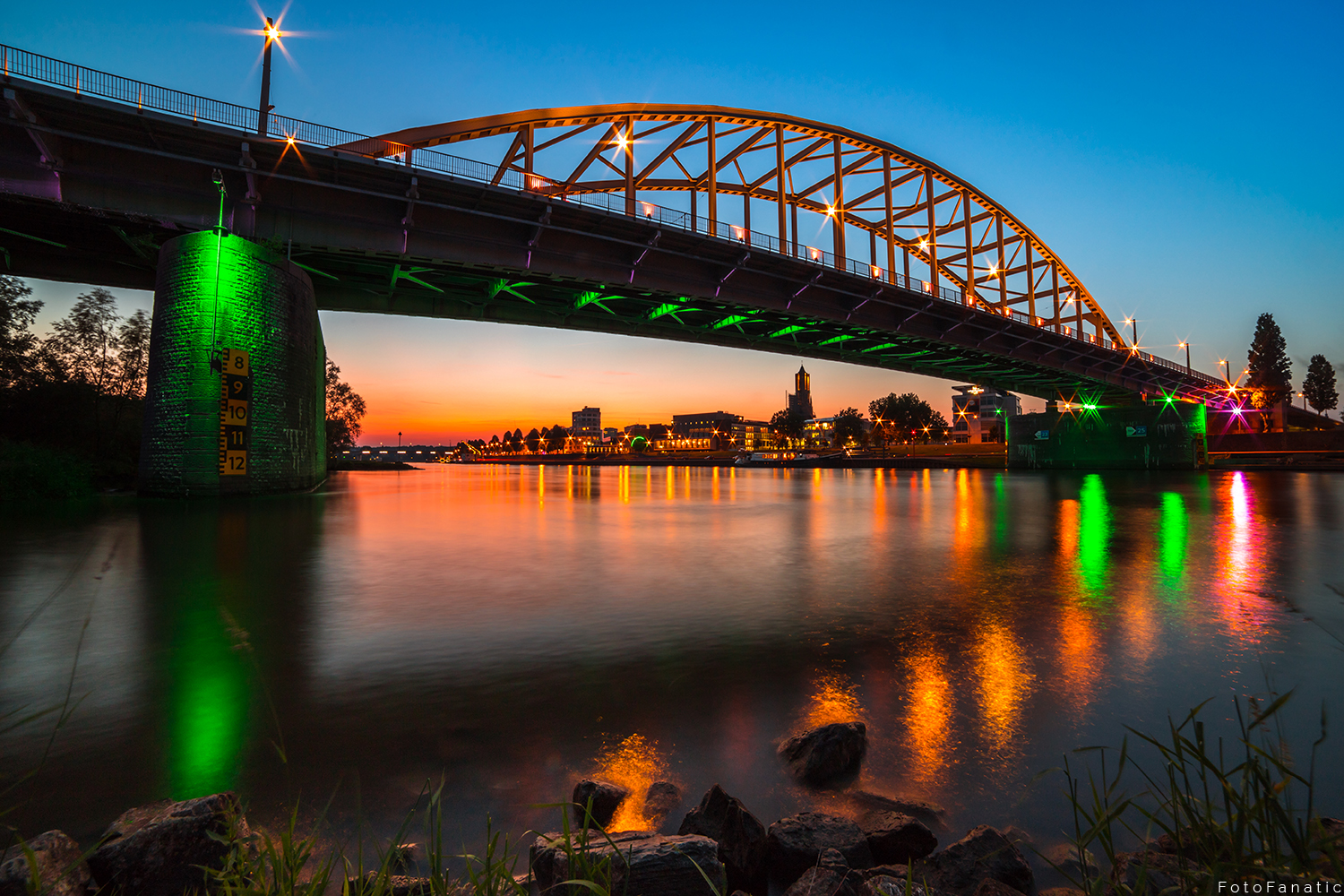 John Frost Bridge Arnhem Skyline sunset