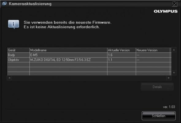 Olympus Camera Updater Firmware OK