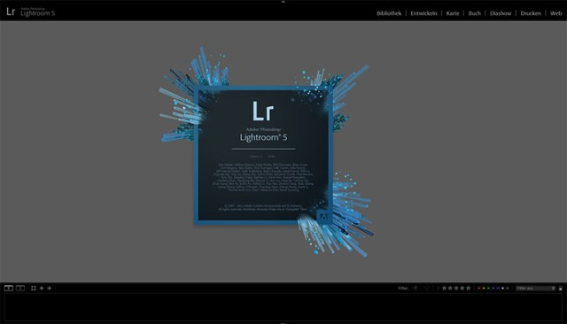 Adobe Lightroom 5.2 Startbild