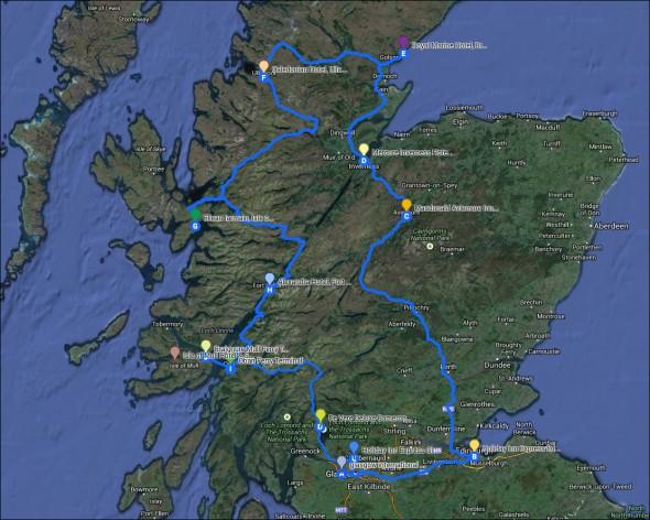 Schottland Karte Hotels