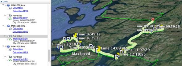 Daten vom Columbus V-990 GPS Tracker direkt in Google Earth importiert.