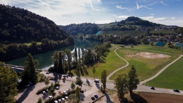 Blick am Rhein entlang nach Rüdlingen