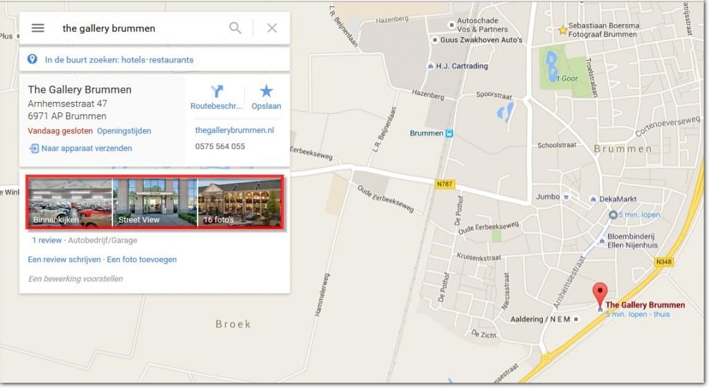Google maps vermelding Streetview