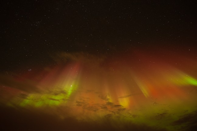 Beautifully coloured northern lights over Hveragerđi, Iceland.