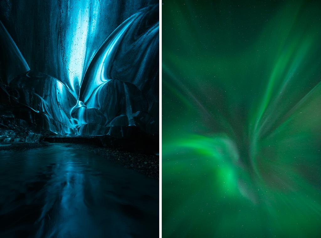Aurora ice cave en het noorderlicht