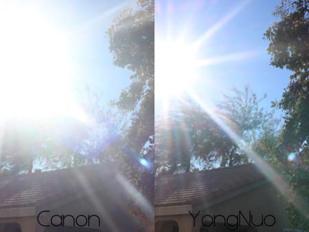 Flare em abertura f/5.6 na Canon à esquerda e na Yongnuo à direita