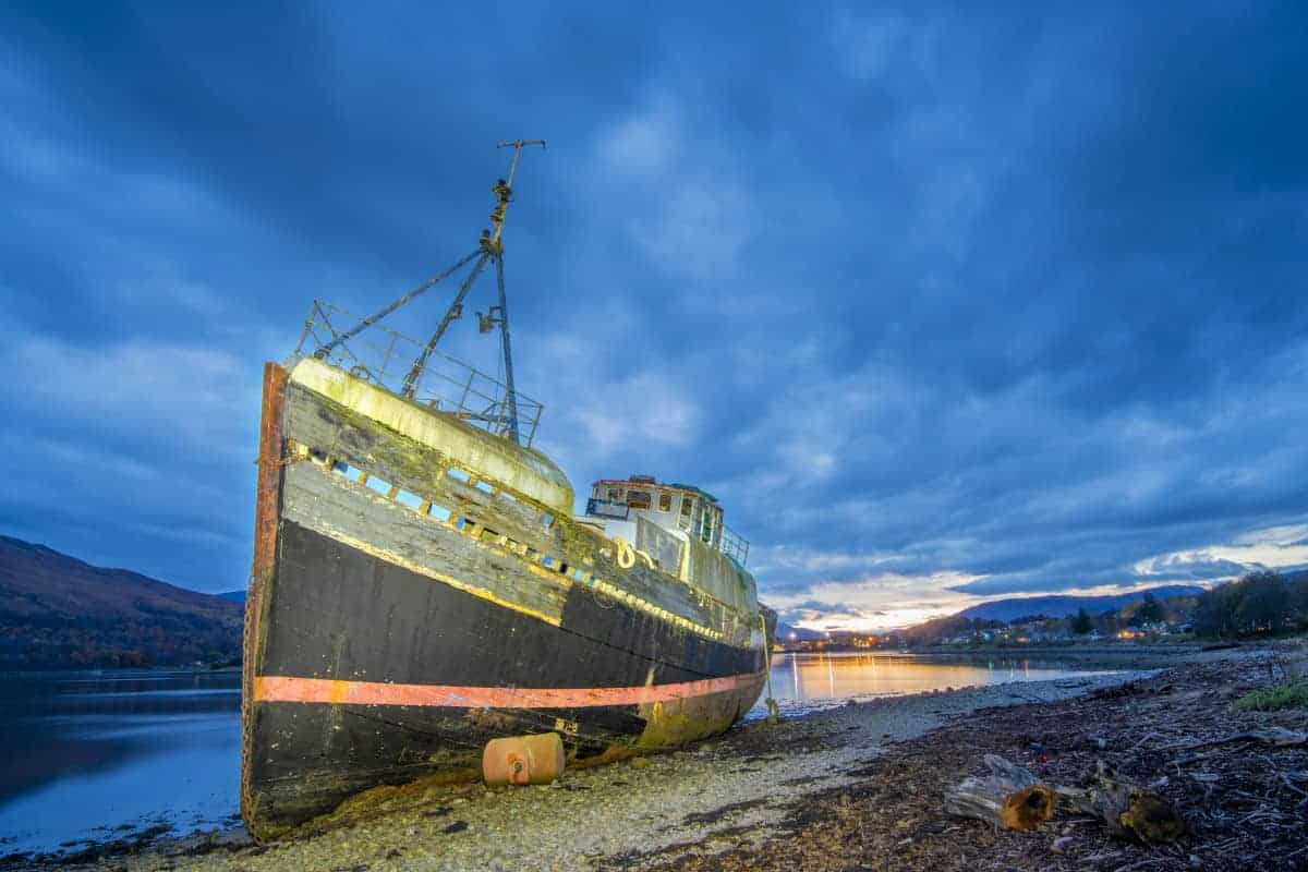 Fotoreis Schotland - Corpach Shipwreck blauwe kwartier