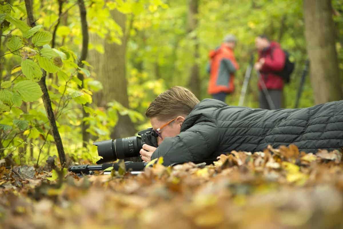 Workshop Herfstfotografie - Man liggend op de grond