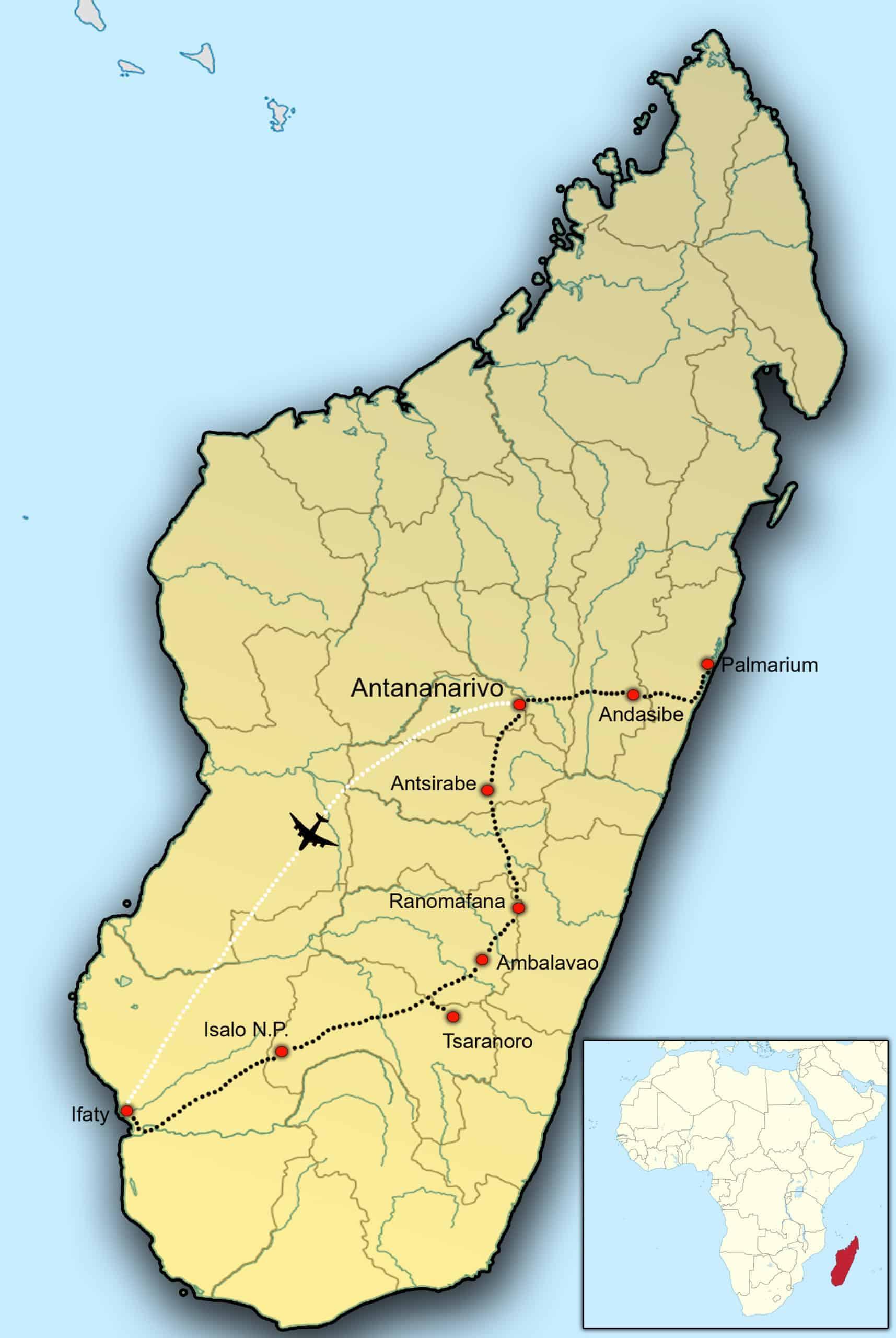 Kaart Madagaskar - fotografie-reizen.nl