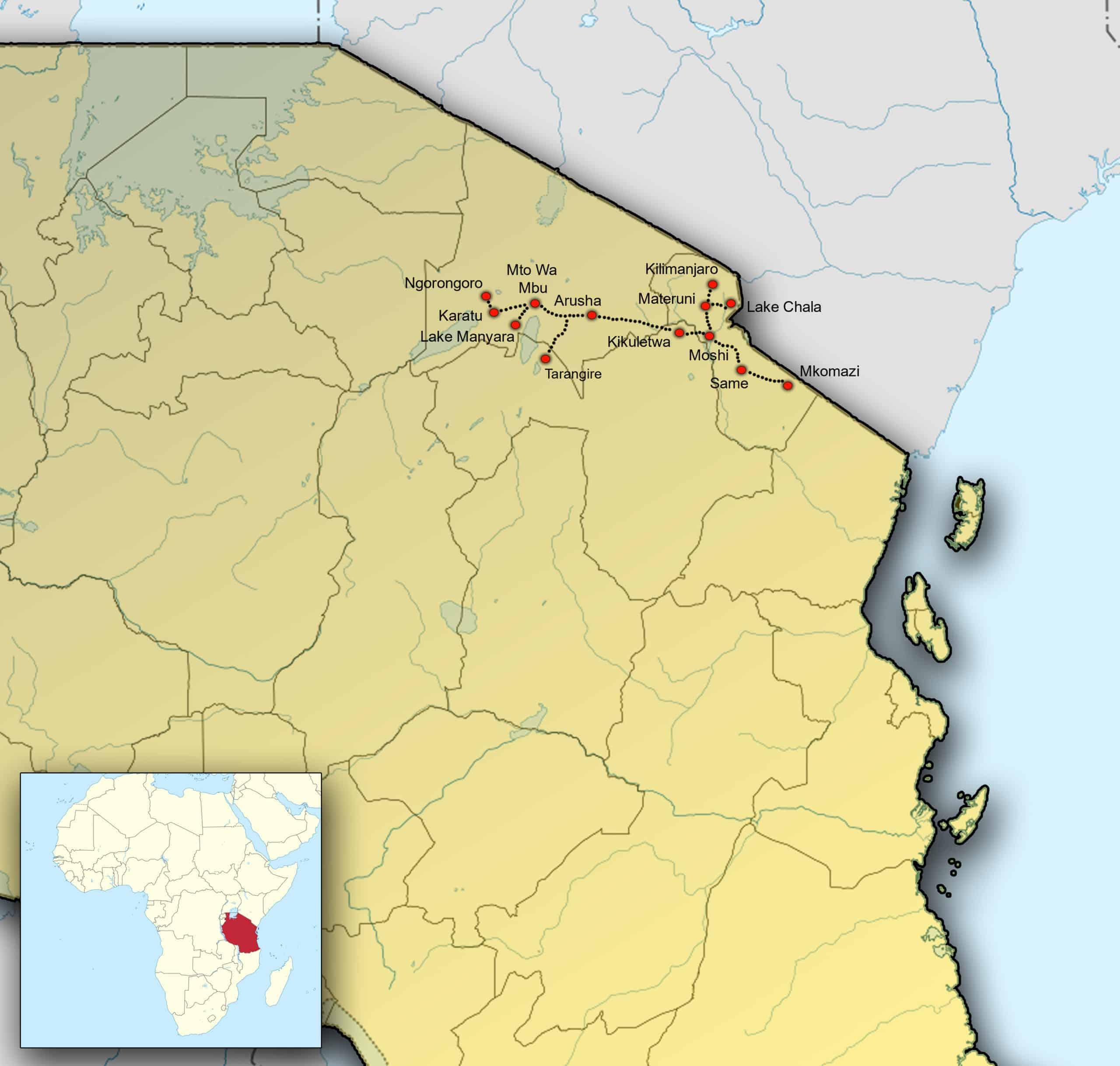 Kaart Tanzania