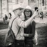 selfie, man, vrouw, paar, hoed, foto