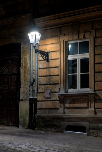 HDR image of a modern LED light source mounted in an old lantern in a renovated street in Zagreb, Croatia.