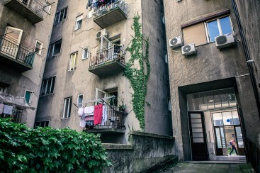 "Almost every building in historic Zagreb center has a ""backyard"", an inner space with small gardens, parking spaces, lines for drying clothes and of course a place for local kids to play."