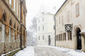 Opaticka Street in Zagreb, Croatia, during a snowstorm.