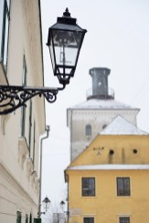 Closeup of a gas lantern in Zagreb, Croatia, with a view of Lotr