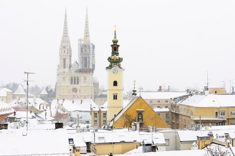 A view of the cathedral of Zagreb, Croatia, and picturesque roof
