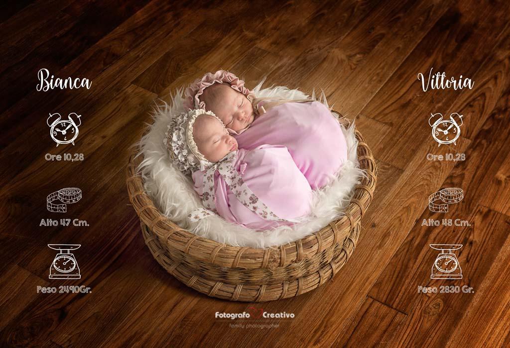 Bianca e Vittoria due gemelline di 15 giorni - Fotografo Newborn