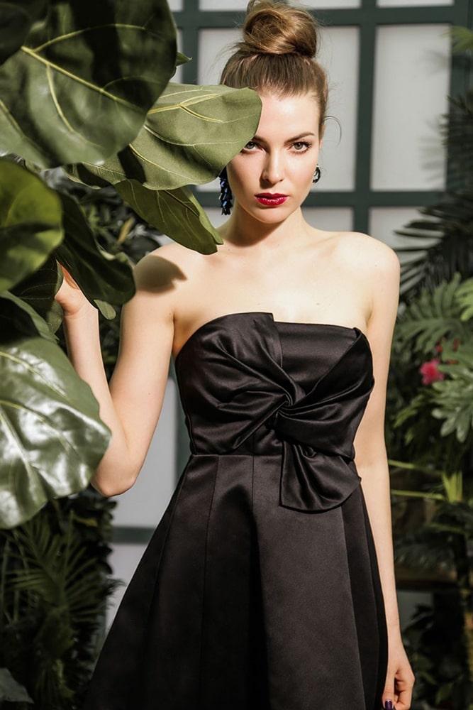 коктейльные платья черное платье с бантом