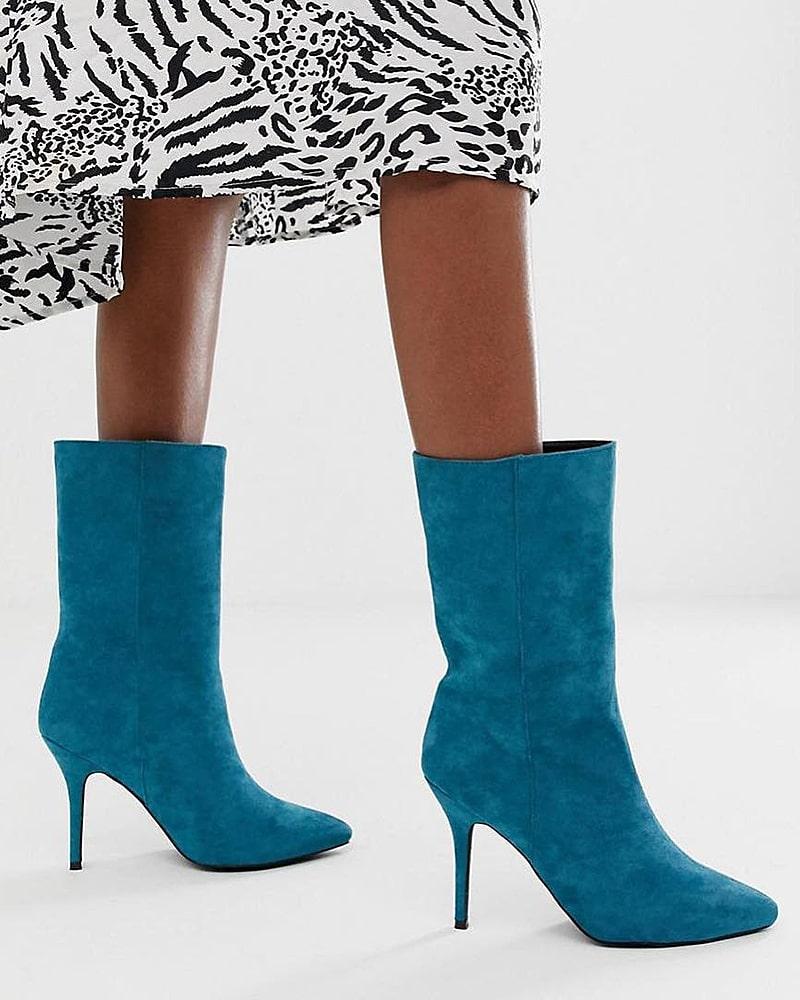 модная обувь ботинки бирюза