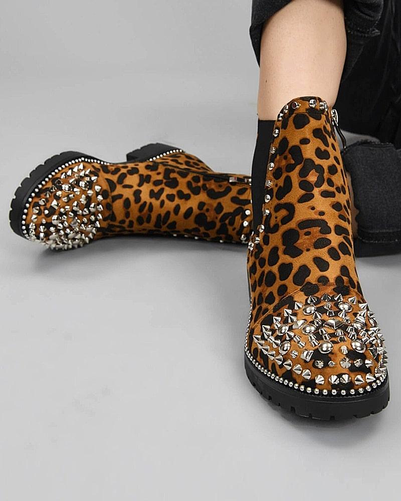 модная обувь ботинки леопард