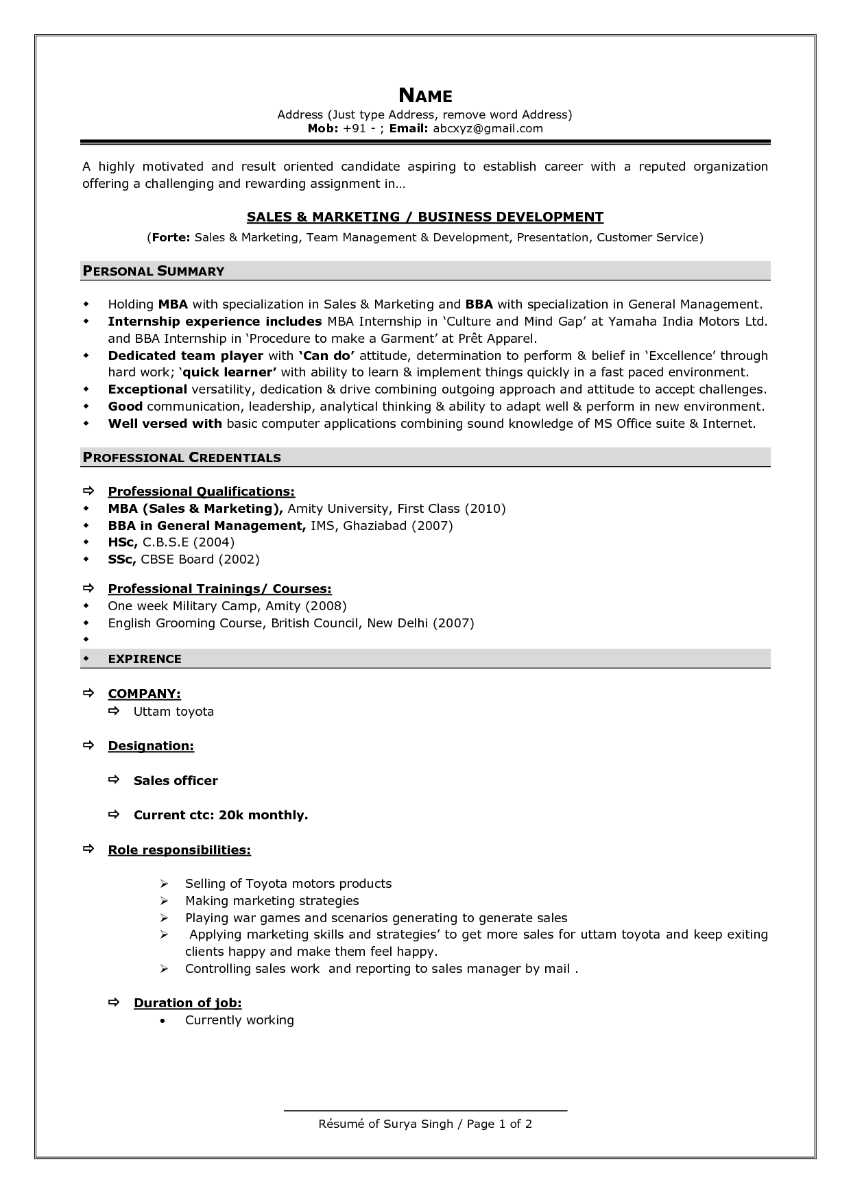 Resume format for it – Performa of Resume