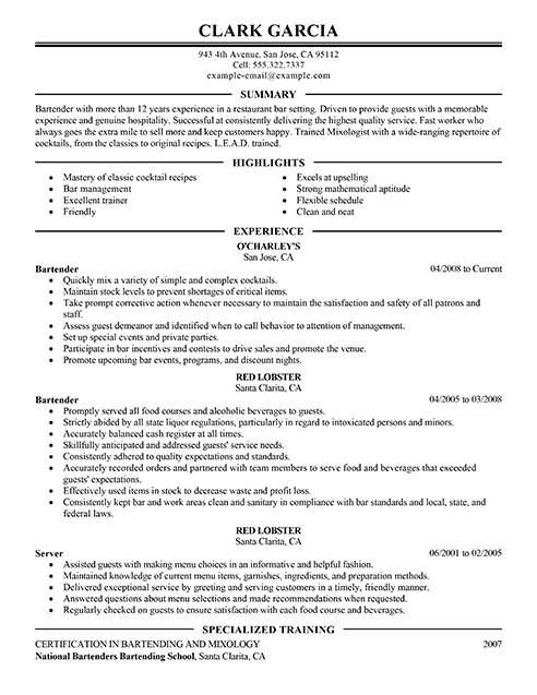 bartenders resume professional head bartender templates to