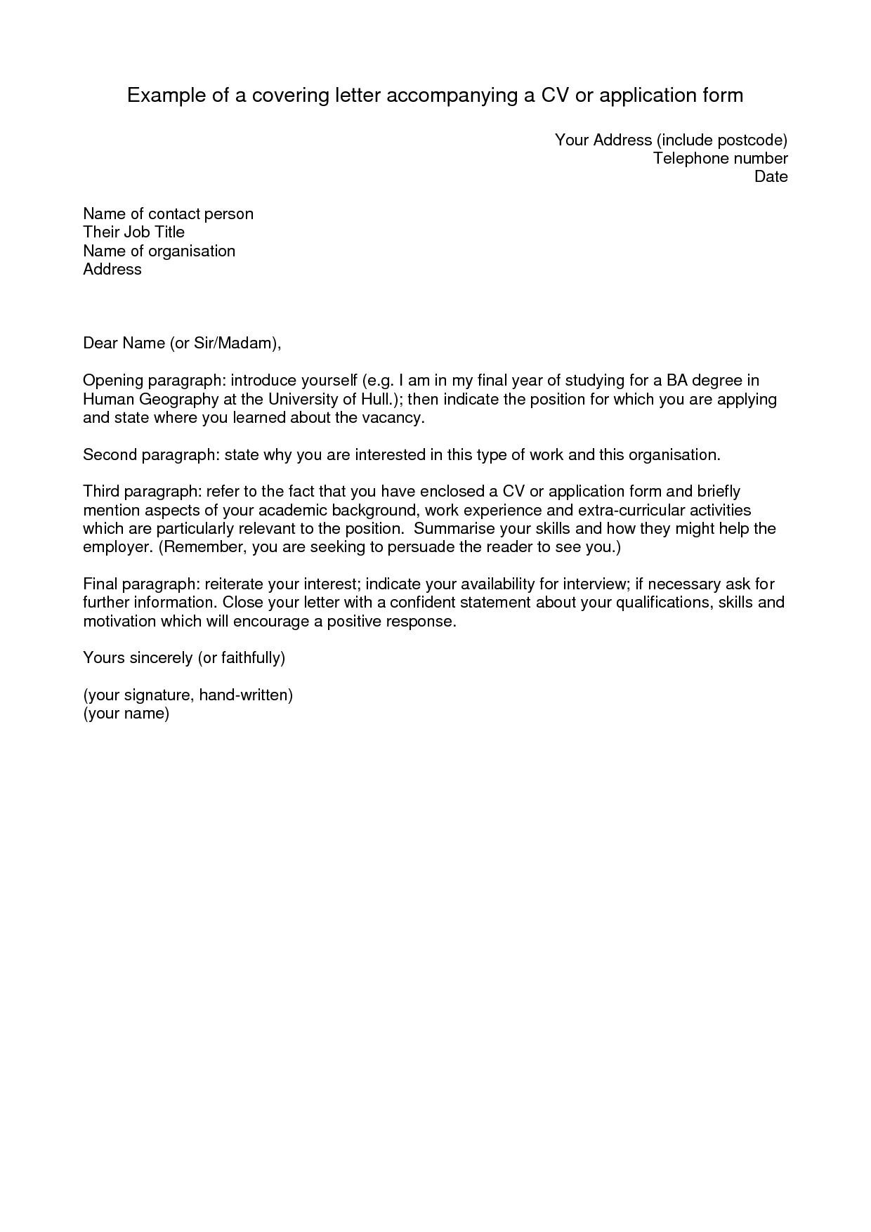 short and simple cover letter