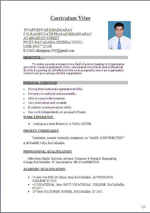 resume format with photo attached resume templates for freshers