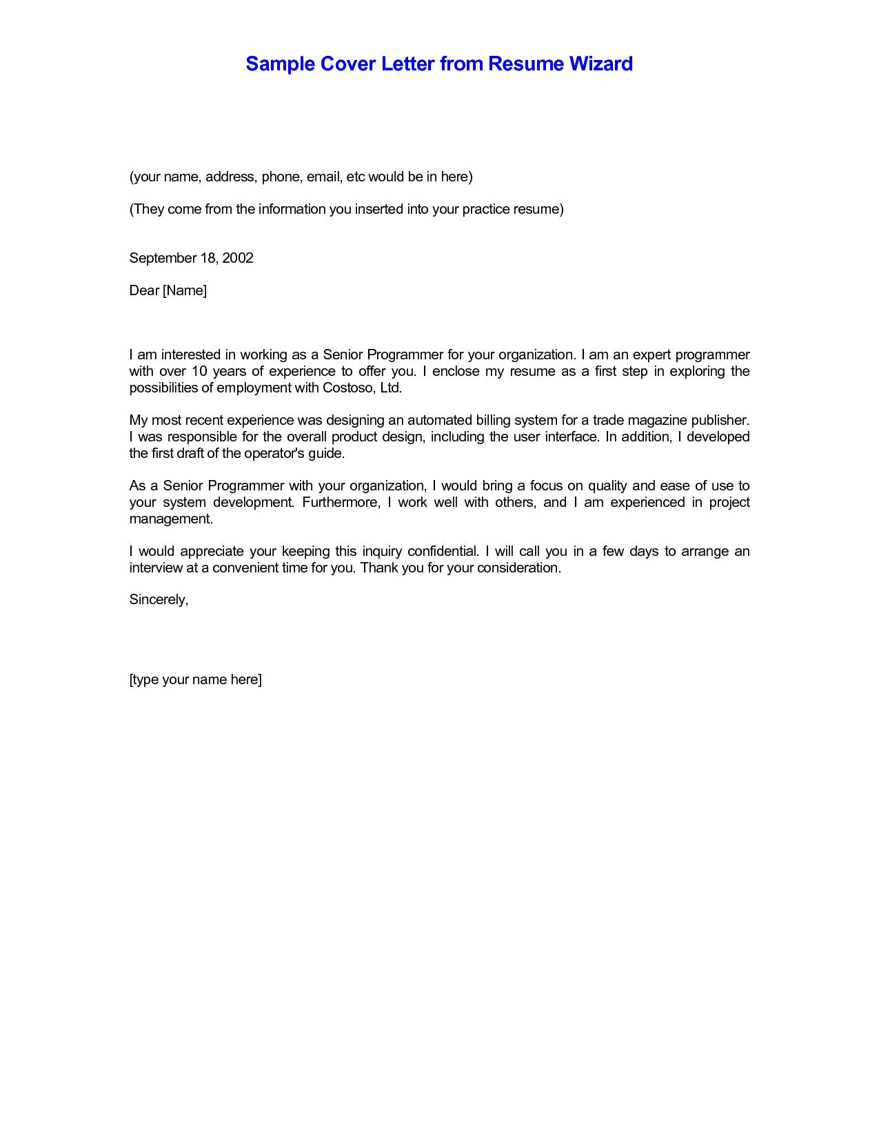 Simple Resume Cover Letter Sample. sample resume cover letters ...
