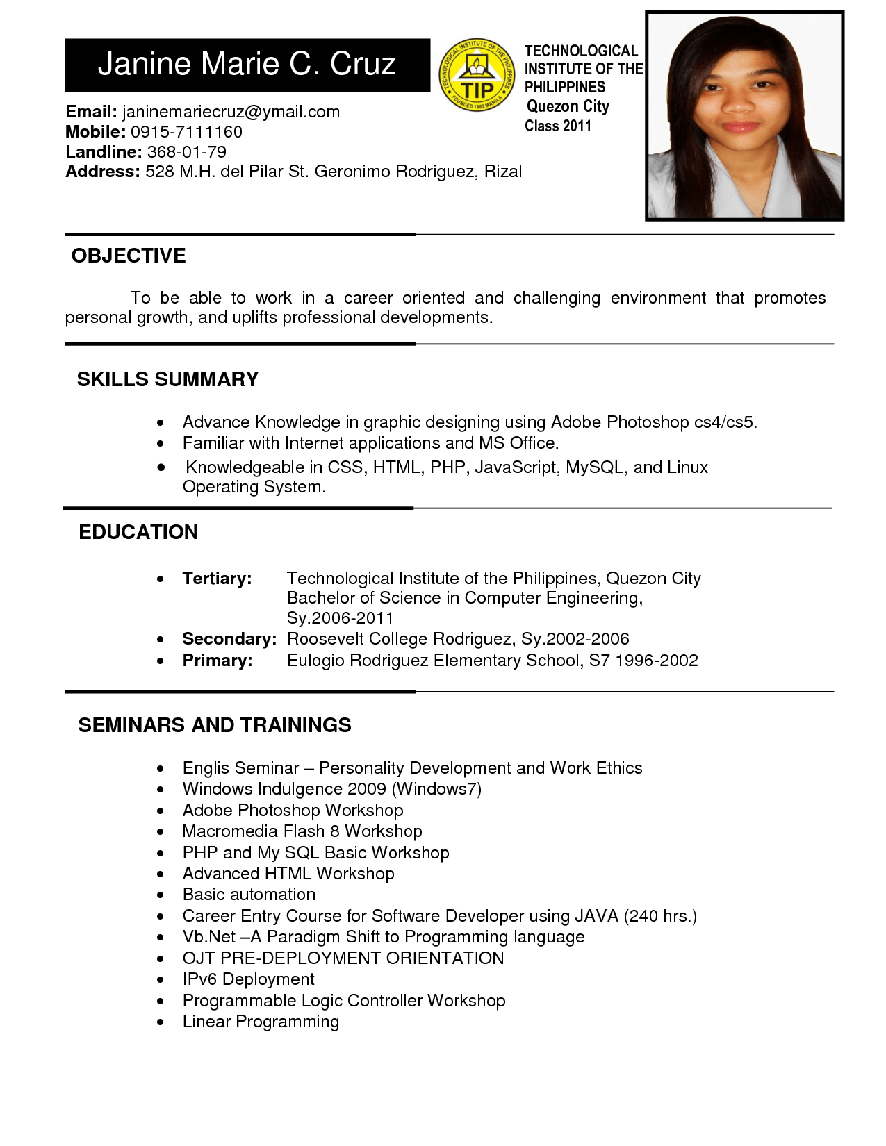sample business resume format sample resume for ojt student college student resume sample ideas