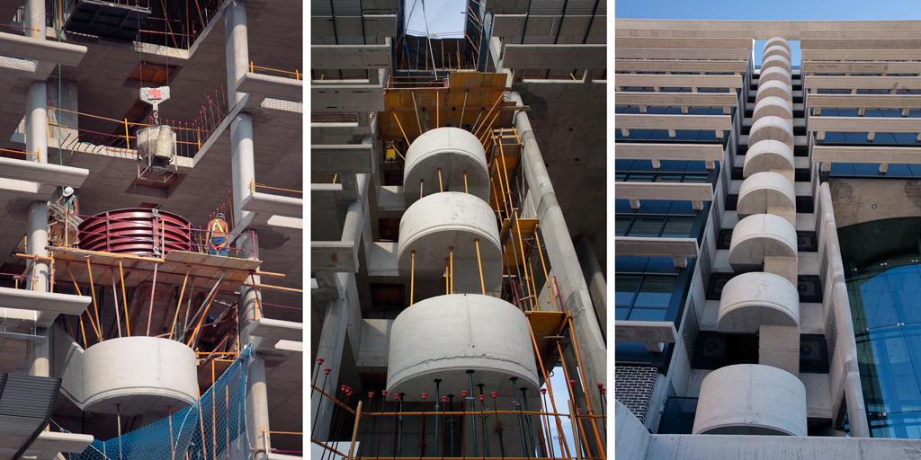 Tríptico de la construcción de las escalera