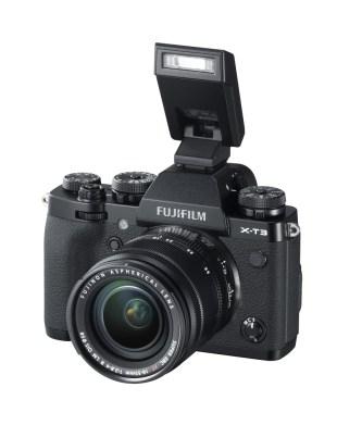 X-T3_Black_LeftObl+EF-X8+XF18-55mm