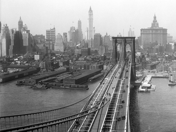 A view of the city from the Brooklyn Tower of the Brooklyn Bridge, on April 24, 1933. (Eugene de Salignac-Courtesy NYC Municipal Archives)