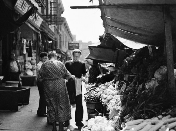Italian vegetable sidewalk stand, on Bleeker Street, near Church of Our Lady of Pompeii, in August of 1937. (Bofinger, E.M.-Courtesy NYC Municipal Archives)