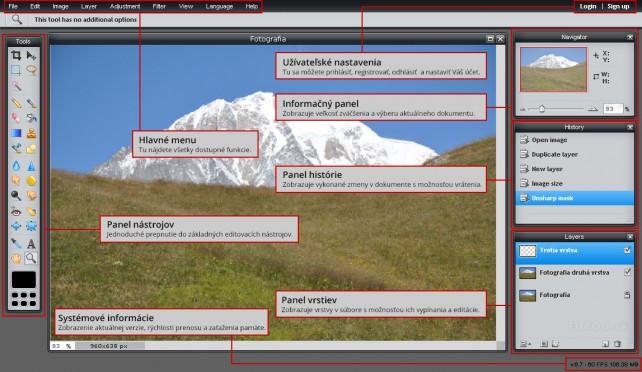 Hlavné okno Pixlr s popisom funkcií