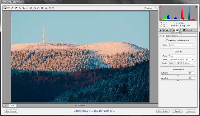 Korekcia objektívu v Adobe Camera Raw