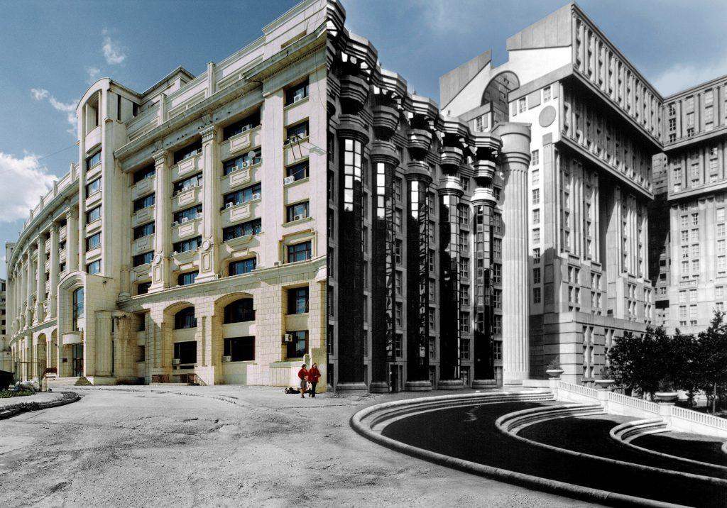 Fotomontage mit Gebäudefassaden und zwei Personen