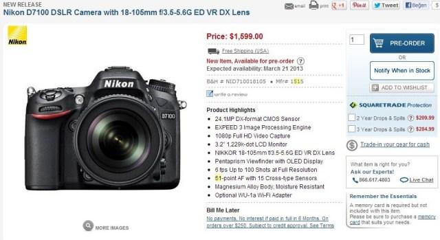 Nikon D7100 DSLR Camera with 18-105mm f3.5-5