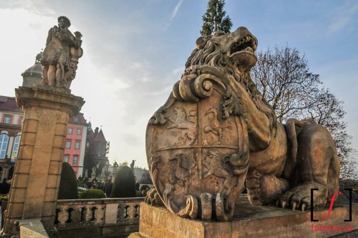 Rzeźba lwa na Zamku Książ