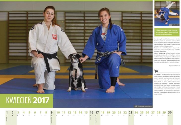 Kalendarz 2017 kwiecien. Judoczki Marta Habarta iKlaudia Szczepanczyk