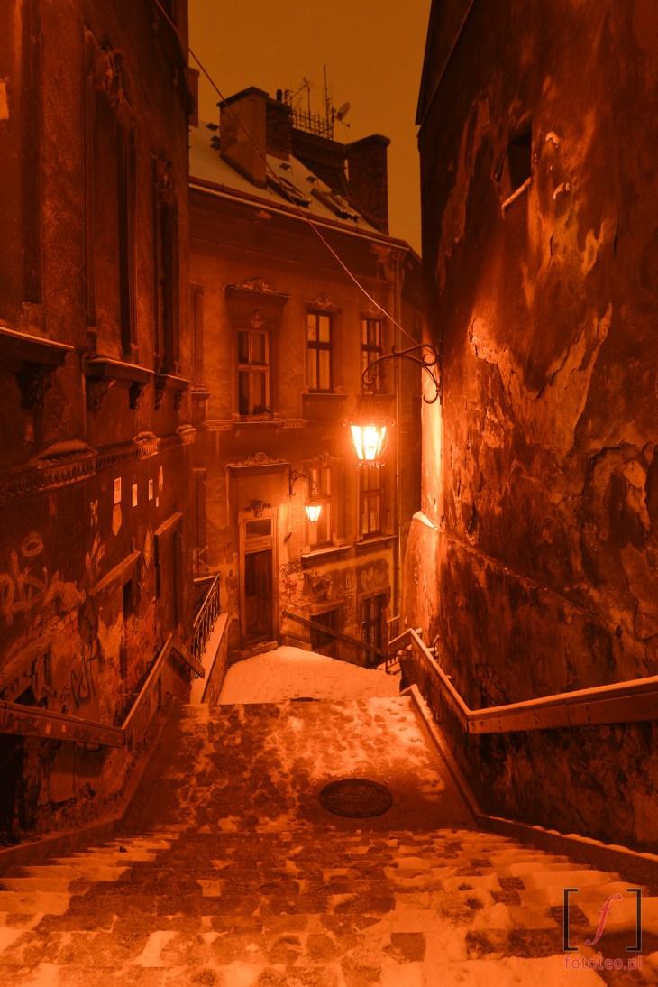 ulica Schodowa wBielsku-Białej nocą