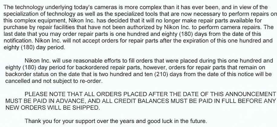 Carta Nikon cese venta piezas a tecnicos independientes