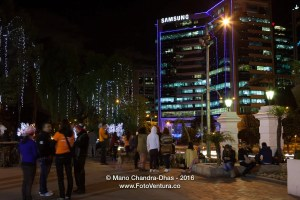 Bogota, Colombia in South America - Christmas lights on Carrera Septima